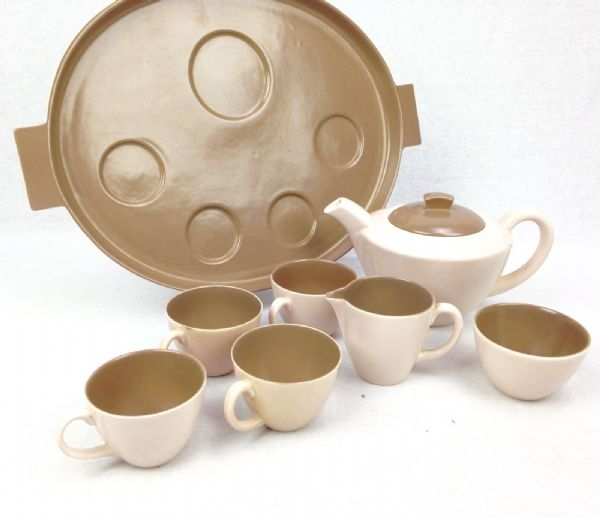 Poole Pottery Twin Tone Tea Service / Set / Tea For Four Brown And Cream Vintage